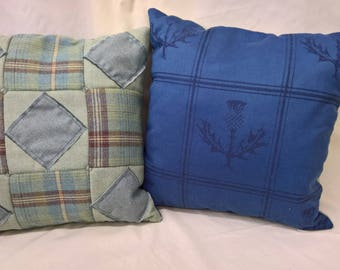 Scottish wool patchwork cushion cover check herringbone thistle