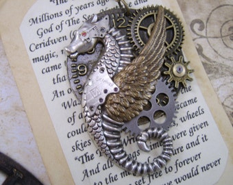 Steampunk Necklace Handmade Jewelry The Time Writer Industrial Cosplay Original Design Dragon Sea Horse