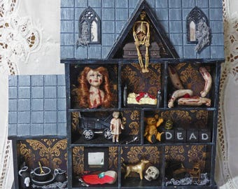 Haunted Dollhouse Assemblage - Doll House Shadow Box - Gothic Wall Art - Creepy Doll Assemblage - Gothic Home Decor