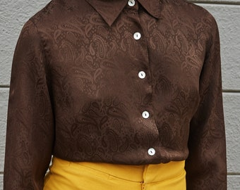 1990s Anne Carson Silk Paisley Button Up Blouse