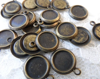 """Vintage gold or silver stamped brass drops ,3/8th""""+ring,20pcs-CMP79"""