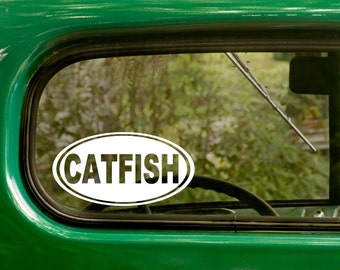 Catfish Decal, Catfish Sticker, Catfishing Sticker, Car Decal, Decal, Laptop Sticker, Oval Sticker, Bumper, Vinyl Decal, Car Sticker