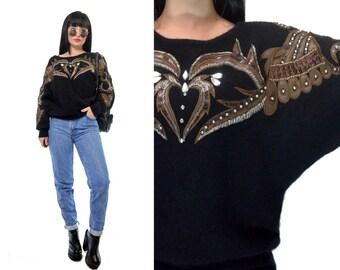 vintage 80s 90s fuzzy sweater Wool Angora knit filigree rhinestone beaded grunge black avant garde faux leather sweatshirt small medium