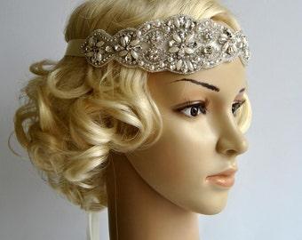 Pearls Crystal Wedding Headband Headpiece, Fascinator, Wedding Hair Accessory,Flapper 1920s Ribbon Bridal Headband, prom, bridesmaid gift