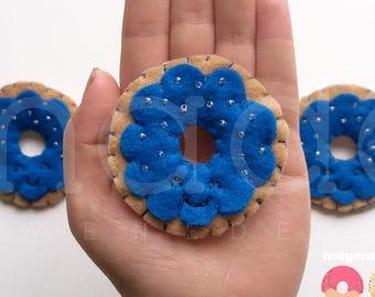blue raspberry donut brooch, felt food pin