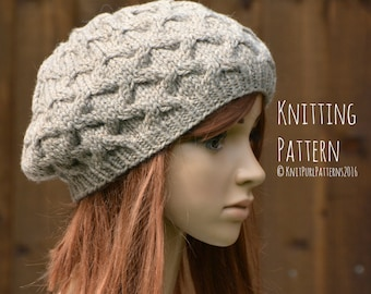 Knitting Pattern PDF Instant Digital Download Womens Beret Tam Cable Hat Knit It Yourself KPWT03