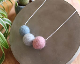 Felt Ball Necklace // Day Dream // Blue and Pink
