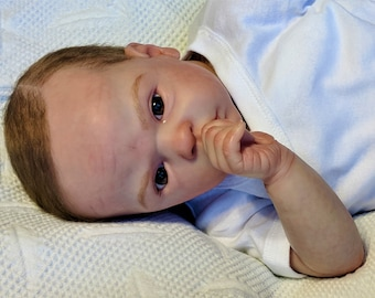 Realistic Reborn Cameron by Phil Donnelly Lifelike Baby Doll Ready to be Adopted Awake Newborn Baby OOAK Open Eyes Completed Ready to Ship!!