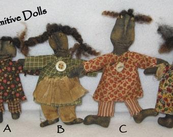 "Tiny 3 1/2 - 5"" Primitive Black Dolls IMMEDIATELY DOWNLOADABLE E-PATTERN"