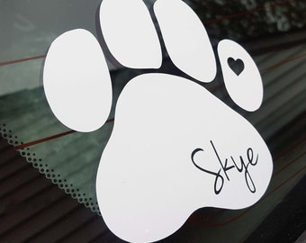 Pawprint with Heart Vinyl Decal