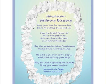 Hawaiian Wedding Gift, original verse with lei, Unique personalized,destination wedding gift, great engagement gift, FREE US SHIPPING!