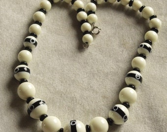 Unusual Glass Bead Necklace in Cream and Black