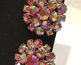 Sparkling Red AB Cluster Clip On Earrings