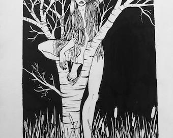 Rulsalka 2/3 (2017) - black and white mermaid art print