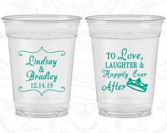 Love Laughter Wedding, Wedding Favor Soft Plastic Cups, Crown, Disposable Cups (279)