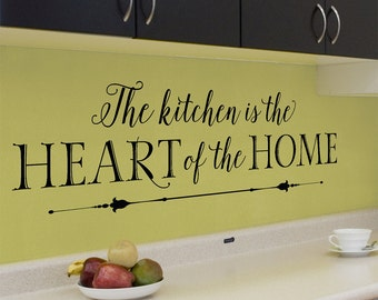Kitchen Wall Decals - The kitchen is the heart of the home - wall decal sticker, kitchen saying