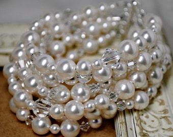 Bridal Bracelet, White Pearl Wedding Bracelet, Crystal, Thick Bracelet, Multi Strand, Bridesmaids Jewelry, Swarovski