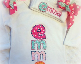 Newborn Name Gown, Baby gown with name, Name hat for baby, hospital name hat, newborn hospital outfit, baby girl clothes, trendy baby gift