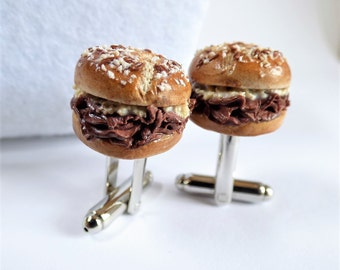Beef on Weck Cufflinks -  Miniature Food Art Jewelry Collectable - Schickie Mickie Original