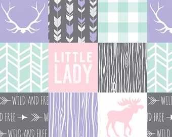 Baby Girl Quilt, Mint Purple Gray Grey Pink Antler Moose Little Lady Woodland Baby Quilt, Crib Bedding, Patchwork, Minky Baby Blanket Modern