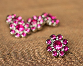5 Rhinestone Buttons - Hot Pink Buttons - Ashlynn Button - 22mm - Plastic Buttons - Acrylic Buttons