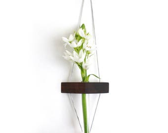Wall vase, small vase, tiny, reclaimed wood, walnut, hanging vase, test tube, wood vase