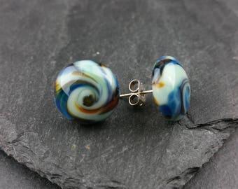 Blue swirl lampwork glass stud earrings