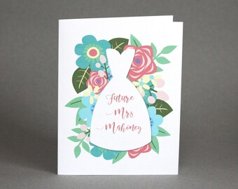 Future Mrs Personalized Card | Floral Wedding Shower Card | To My Bride Card | Flower Wedding Day Card | Bridal Shower Card | For Bride