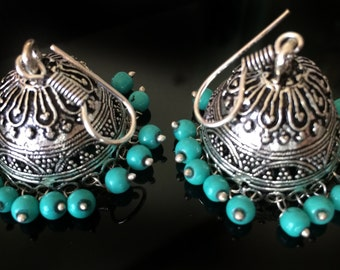 Turquoise Earrings,Temple Jewelry Indian Silver Jhumkas,traditional,Large Jhumka Kucchi  Ethnic gypsy tribal Indian Jewellery by TANEESI