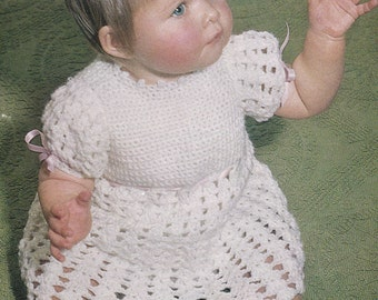 Baby dress vintage crochet pattern pdf INSTANT download pattern only pdf 19 20 21 inches