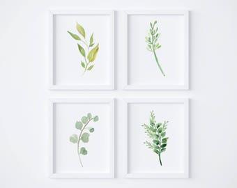 Watercolor Foliage Wall Art_Set of 4 // Greenery // Herbs // Wall Decor // Signs // Art // Hanging