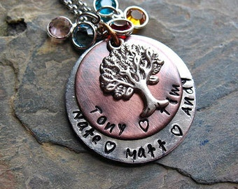 Family Tree Necklace, Personalized Name Necklace, Hand Stamped, Mom Necklace, Tree of life, Copper, Birthstone Necklace