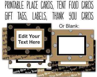 New Years Party Editable Tags, Printable Food Labels, Place Cards, New Years Cards, New Years Eve Food Tags, Thank You Tags INSTANT DOWNLOAD