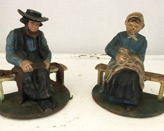 Vintage Cold Painted Amish Figural Cast Iron Book Ends