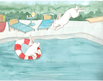 RESERVED for LS - Original Art - Watercolor Rabbit Painting - Our Pool
