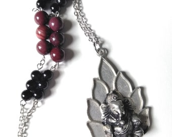 Ganesha Necklace w/Brecciated Red Jasper & Black Onyx