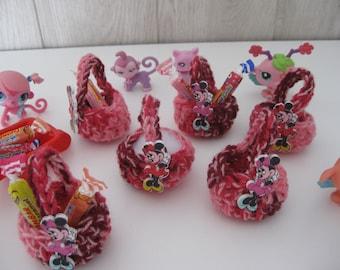 miniature baskets crochet X 6