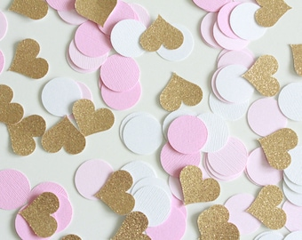 "Gold Glitter hearts Pink ombre white 1' Circle Confetti /100 Count/ 1"" hearts/Party Decor/Birthday/Princess Party/Baby Shower/Table Confetti"