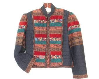 quilted blazer * folk jacket * vintage jacket * patchwork jacket * cropped blazer * large