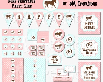 PONY Birthday Party Printable Decorations Package - Horse Party Printables - Cowgirl - Pink Aqua Banner Cupcake toppers INSTANT DOWNLOAD Pdf