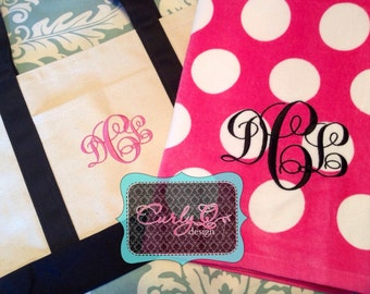 Honeymoon gift set/Bridal party gifts - TWO Large beach towels personalized with monogram or name and ONE boat tote bag