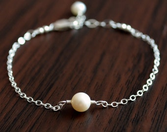 Real Pearl Bracelet, Sterling Silver, Child Children Girl, Genuine, Wire Wrapped, Dainty, Delicate, June Birthstone Jewelry