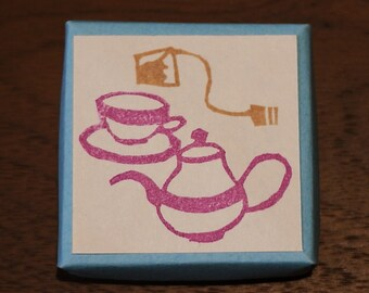 Tea Set  Rubber Stamp