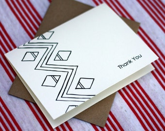 Tribal Notes #2 - A2 Printable Thank You Card (One Design)