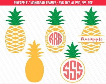 Pineapple svg, Pineapple Monogram SVG, Pineapple cut files, Pineapple Clipart, Cricut, Silhouette - svg, dxf, eps,ai, pdf, png