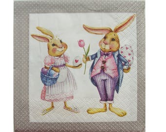 Set of 3 towels PAQ013 rabbit and Bunny with eggs and flowers