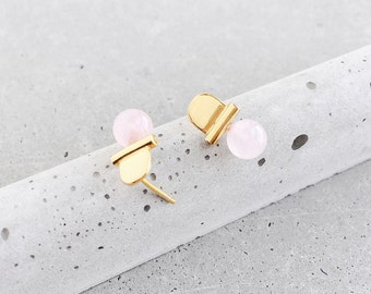 Rose Quartz Gemstone Arch Studs / 14k gold vermeil / architectural jewelry / blush pink / Mother's Day gift for her