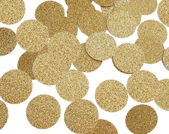 "50 Glitter Gold Confetti Circles, 1"" Glitter Gold Confetti Circles, Gold Coins, Party Decorations - No497"