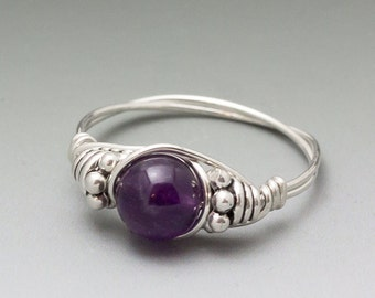 Amethyst Bali Sterling Silver Wire Wrapped Gemstone Bead Ring - Made to Order, Ships Fast!