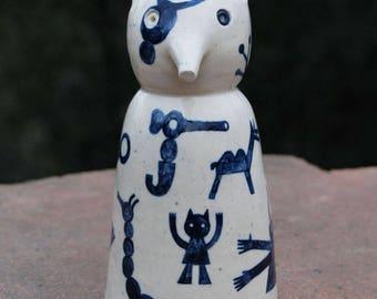 Stoneware Handmade Navy Blue Shrew Mouse Sculpture